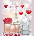 sweet valentine day card with flowers and hearts vector image vector image