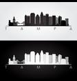 tampa usa skyline and landmarks silhouette vector image vector image