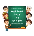 Teacher Points to the Blackboard with Welcome Back vector image