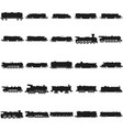 train silhouettes set black icon on white vector image vector image