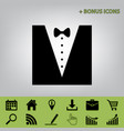 tuxedo with bow silhouette black icon at vector image vector image