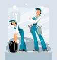 two women car mechanics vector image vector image