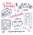 Weekend sketch art romantic set of hand drawn vector image vector image