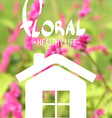 White house on floral background vector image vector image