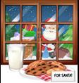 window with view santa on christmas night vector image vector image