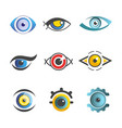 eyes ophthalmology icons templates isolated vector image