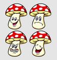 mushroom emoticon icon cartoon character vector image
