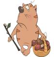 A tabby cat a mushroom picker cartoon vector image vector image