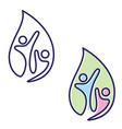 abstract two people icon symbol in leaf vector image vector image
