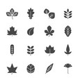 autumn leaves icons silhouettes of various