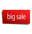 big sale red paper sign isolated on white vector image vector image