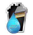 blue drop water and filter vector image vector image