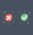 check box list icons set green and red mark vector image