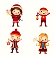 Christmas kids collection isolated on white vector image vector image