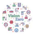 color line icon round set vision zero vector image