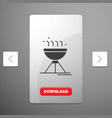 cooking bbq camping food grill glyph icon in vector image