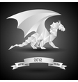 dragon with banner new year 2012 origami vector image vector image