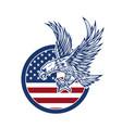 Eagle on american flag design element for logo