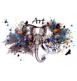 elephant with ink spots vector image