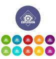 explosion icons set color vector image vector image