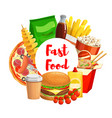 fastfood takeaway junk food and drinks vector image vector image