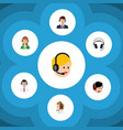 flat call set of help operator hotline and other vector image vector image