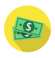 flat design dollar money cash icon cash vector image vector image