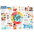 flat multiracial people infographic template vector image vector image