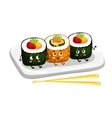 Funny sushi roll set on plate cartoon character vector image