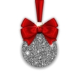 Glitter Christmas Ball and Red Bow Ribbon with vector image vector image