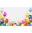 happy birthday banner with balloons transparent vector image