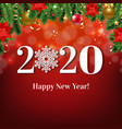 happy new year card with christmas border vector image vector image