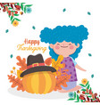 happy thanksgiving day girl and pumpkin with vector image