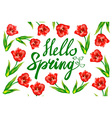 Hello Spring phrase lettering Hand drawn vector image