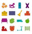 kindergarten symbol icons doodle set vector image vector image
