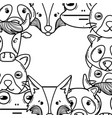 line cute heads of wilds animals background vector image vector image
