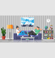 man and woman on sofa with notebook and laptop vector image vector image