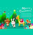 merry christmas background with cute animal vector image