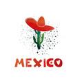 mexico watercolor cactus in a sombrero cute vector image vector image