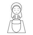 muslim girl pray cute line art vector image vector image