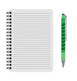 notebook with a green pen vector image vector image