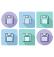 outlined icon of floppy disk with parallel and vector image vector image