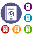 passport icons set vector image vector image