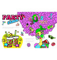pop art 90s party colorful concept vector image