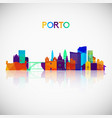 porto skyline silhouette in colorful geometric vector image vector image