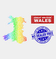 rainbow colored factory wales map and scratched vector image vector image