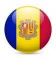 Round glossy icon of andorra vector image