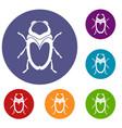 scarab beetle icons set vector image vector image