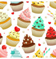 seamless pattern of yummy colored cupcakes vector image vector image