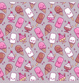 seamless pattern with cute kawaii icecream vector image